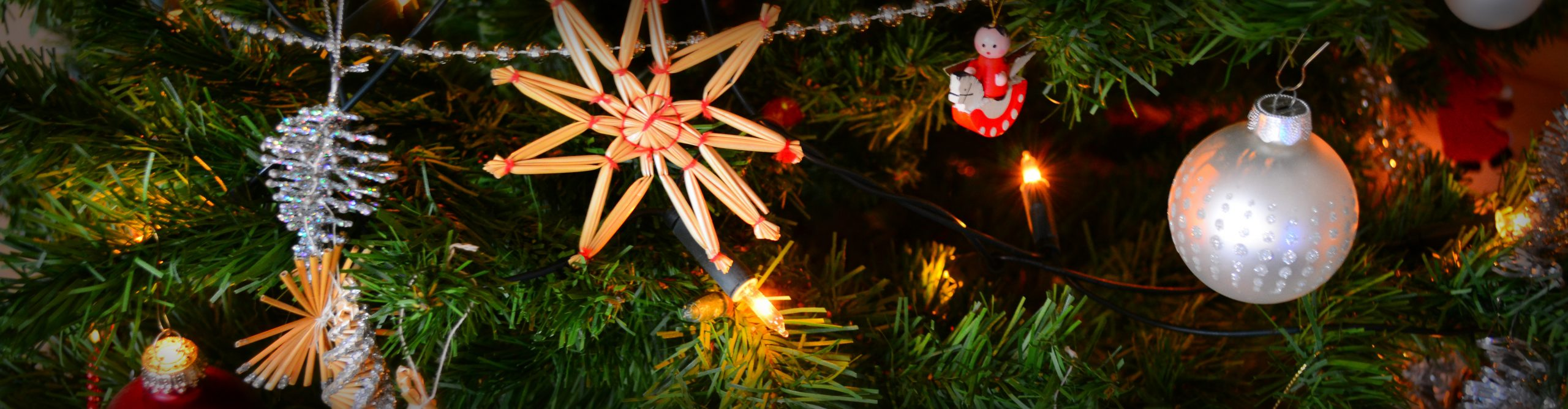Close up picture of ornaments on a tree.